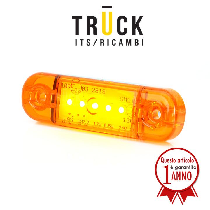 Fanale a led colore giallo - 5 led 12/24V modello slim