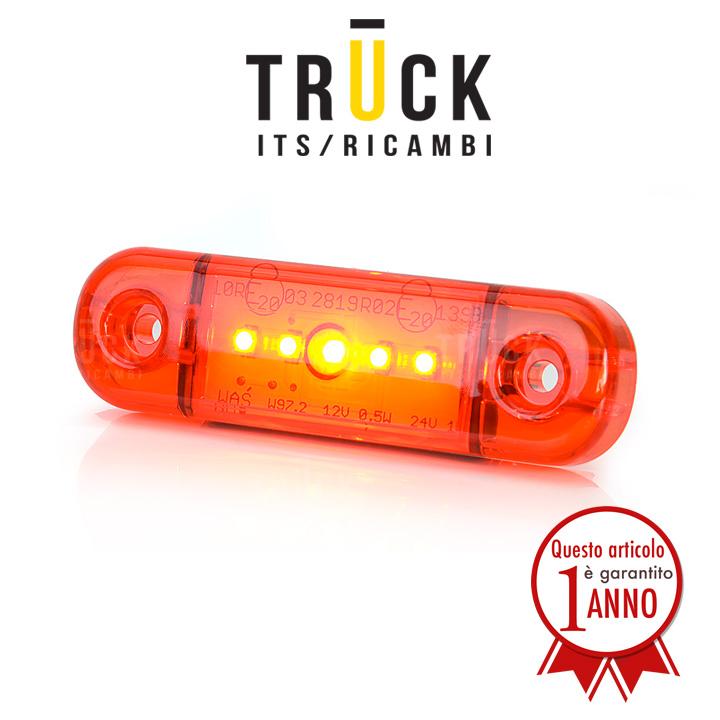 Fanale a led colore rosso - 5 led 12/24V modello slim
